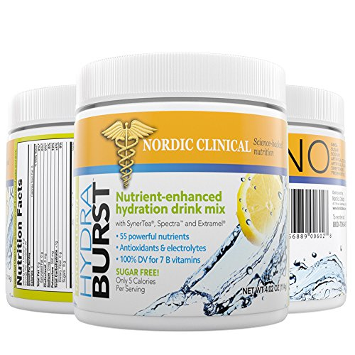 HYDRABURST Nutrient-enhanced hydration drink mix with SynerTea, Spectra, Extramel. 55 powerful nutrients, Antioxidants, Electrolytes.[hydration drink powder] Sugar FREE Only 5 Calories per Serving by NORDIC CLINICAL