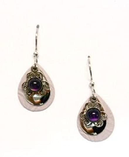 befaced05 Image Unavailable. Image not available for. Color: Silver Forest of Vermont  Purple Amethyst Filigree Silver Teardrop Dangle Earrings