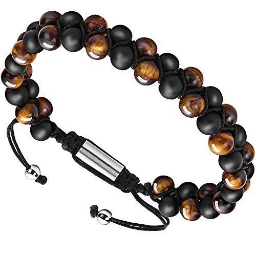 Depot Tresor Men's Bracelet Adjustable - Diffuser Bracelet Lava Rock Essential Oil Bracelet for Men's Gift (Black and Yellow Smooth Small)