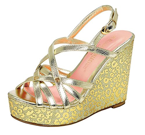gold Cheetah Toe Metallic Wedge Platform Peep 2 Women's 0Bng1qn