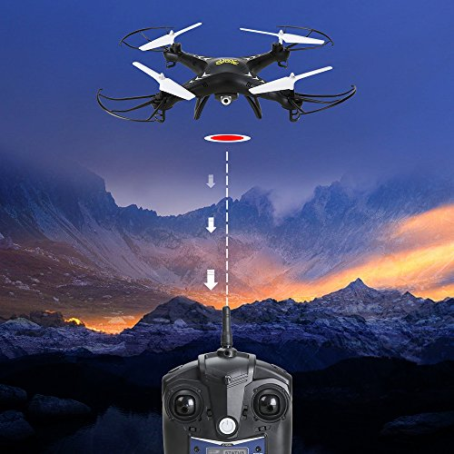 Holy-Stone-HS110-FPV-RC-Drone-with-Camera-720P-HD-Live-Video-WiFi-24GHz-4CH-6-Axis-Gyro-RC-Quadcopter-with-Altitude-Hold-One-Key-Return-and-Headless-Mode-Function-RTF-Color-Black