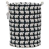 Sea Team 19.7'' x 15.7'' Large Sized Folding Cylindric Waterproof Coating Canvas Fabric Laundry Hamper Storage Basket with Drawstring Cover, Polar Bear