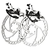 RUJOI Bike Disc Brake Kit, Aluminum Front and Rear Caliper, 160mm Rotor, Mechanic Tool-Free Pad Adjuster for Road Bike, Mountain Bike White (2 Sets)
