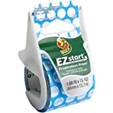 Duck Brand EZ Start Decorative Printed Packaging Tape with Dispenser, 1.88-Inch x 15-Yard Roll, Blue Dots (281911)