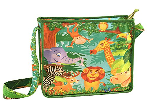 Yuga Digitally Printed Kids Satchel Bag With Zipper? Waterproof Children Schoolbags Adjustable Shoulder Straps 10 X 12 X 3 Inches Verde oscuro
