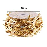 DECORA 36 Yards Artificial Gold Leaf Ribbon Trim for Wreath Making Gift Wrapping Wedding Decoration