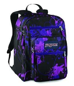 JanSport Big Student School Backpack (Black/Electric Purple Flitter)