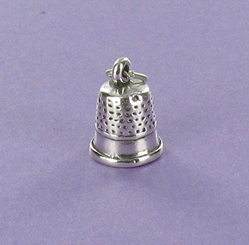 Thimble Charm Sterling Silver for Bracelet Sewing Arts and Crafts Quilting - Jewelry Accessories Key Chain Bracelets Crafting Bracelet Necklace Pendants