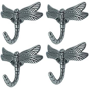 Dragonfly Hook, Antique Heavy Duty Decorative Shower Curtain Robe Towel Coat Utility Hooks-Brushed Satin Pewter(4 Pack)