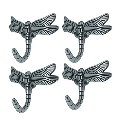 Dragonfly Hook, Antique Heavy Duty Decorative Shower Curtain Robe Towel Coat Utility Hooks-Brushed Satin Pewter(4 Pack)