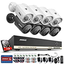 ANNKE AHD 8-Channel DVR Security System 1080N Video Recorder with 1TB HDD and (8) 1.0MP 1280TVL Outdoor Metal Housing CCTV Surveillance Camera, 100ft IR Night Vision, Remote Access