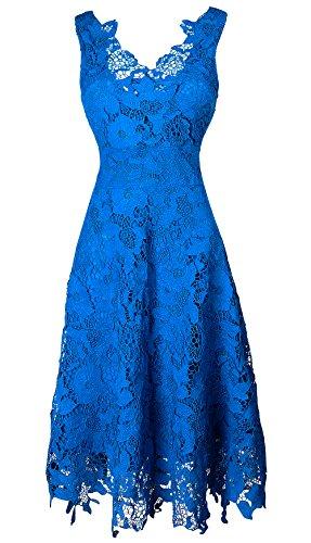 KIMILILY Women's V neck Elegant Floral Lace Swing Bridesmaid Dress