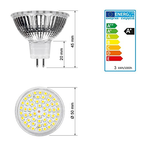 KALTWEIß LAMPE STRAHLER LICHT BIRNE 4 x LED GU10//MR16 LED 3W 54SMD NEUTRALWEIß