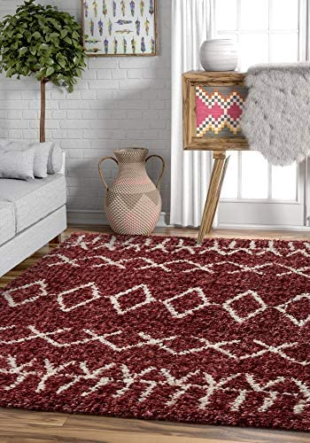 Well Woven Olivia Soft Plush Moroccan Shag 5×7 5 3 x 7 3 Area Rug Maroon Red