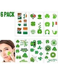 Shamrock Clover Tattoo st Patricks Day Stickers Irish Temporary Tattoos St Patricks Day Accessories Shamrock Patterned Tattoos Party Favors Decorations