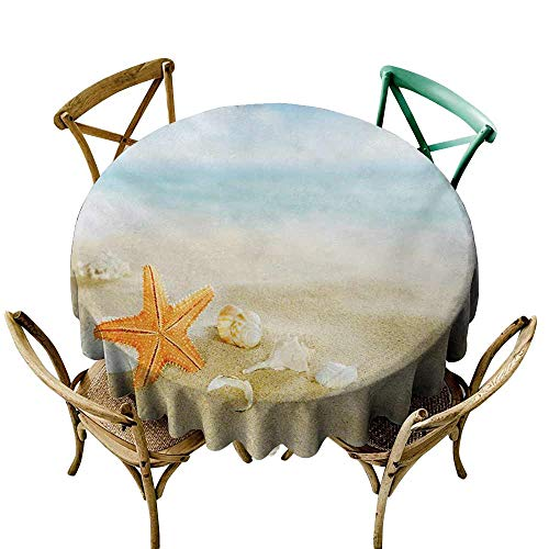 SKDSArts Decor Collection Table ClothsStarfish,Tropical Caribbean Seacoast with Different Shells and Animals Relaxing Vacation,Multicolor D50,Round Tablecloth]()