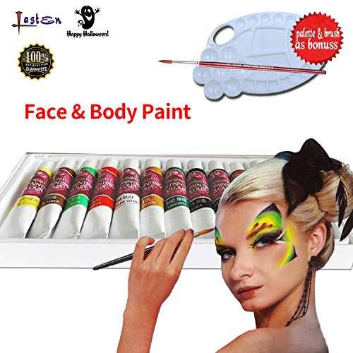 Lasten Body Paint & Face Paint Come with Paint Brush, 12 Color Safe & Non-Toxic Face & Body Paint, Face and Body Art Make-up Set, Rich Pigment, Perfect for Face Painting at Children's Party