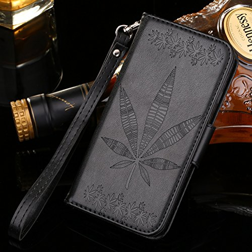 IPhone 7 Plus Housse Case, Double Side Embossing Fleurs Haute Qualité Flip Stand PU Leather Case avec Lanyard Wallet & Card Cash Slots pour Apple IPhone 7 Plus ( Color : Black )