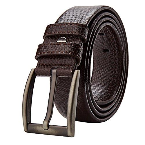 Men's Leather Dress Belt 35mm Wide ( Brown,Black ) (Brown-3Z)