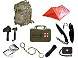 Ultimate Arms Gear Level 3 Assault MOLLE Taccam Camo Backpack Kit; Signal Mirror, Polarshield Blanket, Knife Fire Starter, Wire Saw, Axe, 50' Foot Paracord, Camping Tube Tent & First Aid Kit