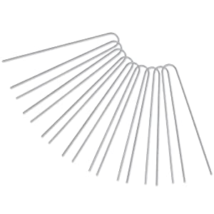 [U-Shaped] 50-Pack 12 Inches Heavy Duty 11 Gauge Galvanized Steel Garden Stakes Staples Securing Pegs for Securing Weed Fabric Landscape Fabric Netting Ground Sheets and Fleece