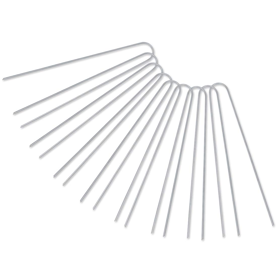[U-Shaped] 50-Pack 12'' Heavy Duty 11 Gauge Galvanized Steel Garden Stakes Staples Securing Pegs for Securing Weed Fabric Landscape Fabric Netting Ground Sheets and Fleece