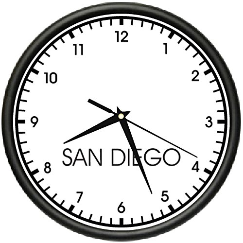 SAN DIEGO TIME Wall Clock world time zone clock office business