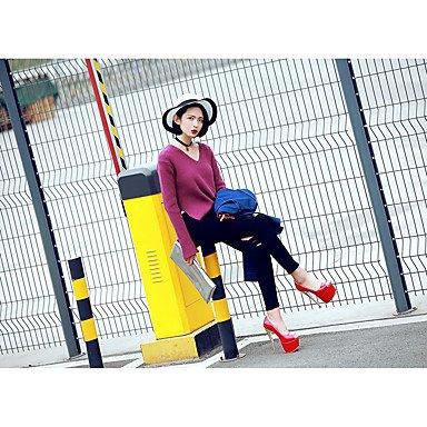 LvYuan Tacón Stiletto-Confort Zapatos del club-Sandalias-Boda Vestido Fiesta y Noche-Cuero Patentado-Azul Rojo Bermellón Red
