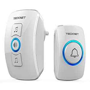 Wireless Doorbell, TeckNet Wireless Door Bell Chime Kit with LED Light, 1 Receiver and 1 Push Button, Operating at 820-feet Range with 32 Chimes