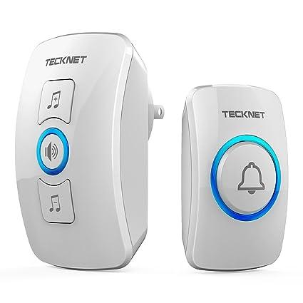 Wireless Doorbell, TeckNet Waterproof Wireless Door Bell Chime Kit With LED  Light, 1 Receiver