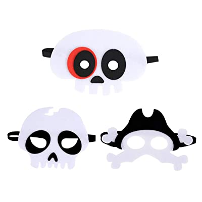Felt Skeleton Masks Party Face Eyes Mask, B bangcool Skull Devil Pirate Scary Eye Mask Party Costume Supplies (3PCS): Toys & Games