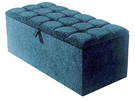 Astounding Large Stylish Chenille Fabric Diamante Ottoman Box Storage Box Blanket Box Teal Matching Fabric Buttons Alphanode Cool Chair Designs And Ideas Alphanodeonline