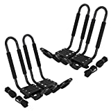 Kayak Rack Accessories for Car - 2 Pair J-Bar Shape Steel Roof Rack Kayak Carrier Folding w/Vehicle Cross Bars Roof Racks Mount on Car Truck and SUV Vault Crossbar, for Canoe, SUP and Kayaks (2)