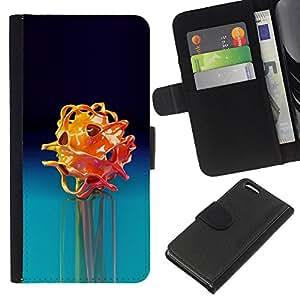 Apple iPhone 5C Modelo colorido cuero carpeta tirón caso cubierta piel Holster Funda protección - Blue Rose Dark Black Flower