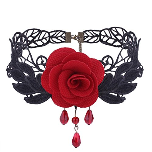 - ManxiVoo Women Flower Choker Girl Gothic Lolita Black Lace Collar Choker Necklace Retro Rose Collarbone Chain Clavicle Necklace (Red)