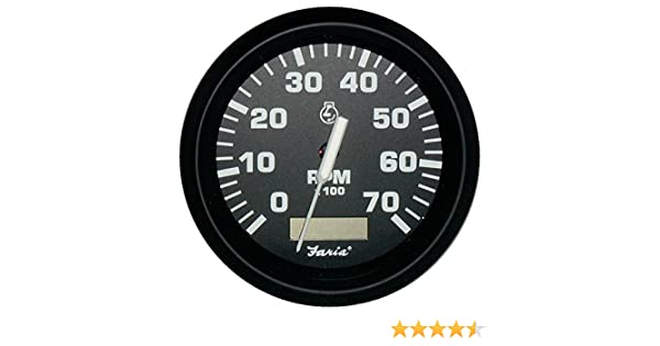 "Gas - Outboard Faria Euro Black 4/"" Tachometer w//Hourmeter 7,000 RPM"