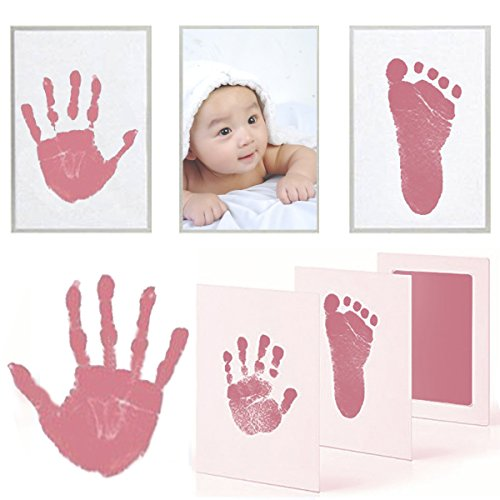 PartyYeah 3 Pcs Baby Ink Pad for Baby Footprints Hand Prints and Fingerprints Kit with 3 Extra Large Ink Pads and 6 Imprint Cards Perfect Keep Baby Memory Baby Shower Gift (Type-1, Pink)