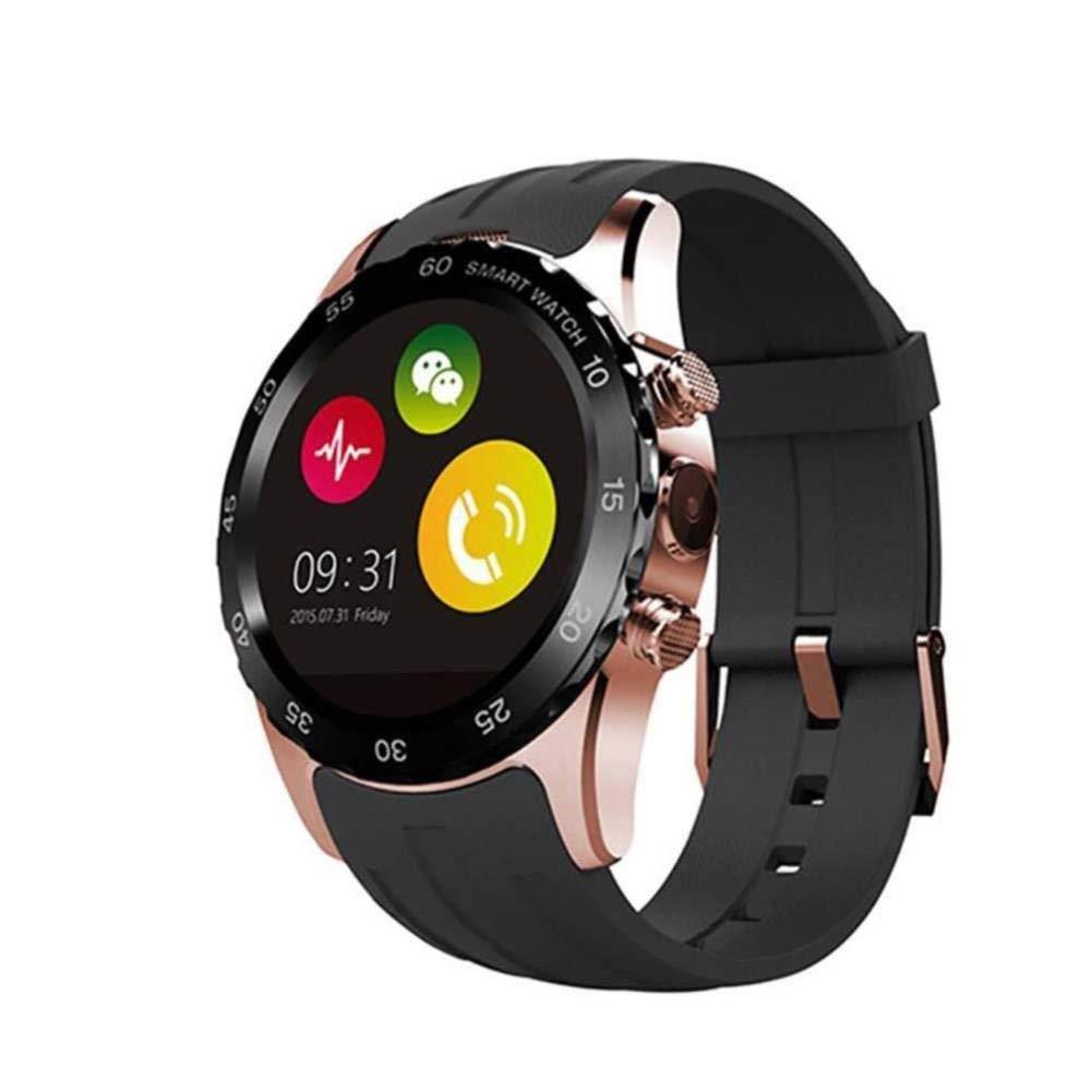 スマートウォッチは、防水ラウンドスクリーンのBluetoothスマートウォッチ携帯電話独立したカード通話心拍数モニターを着用 (色 : Black+Gold)  Black+Gold B07QQP2V19