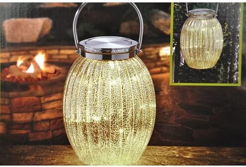 Hand Blown Mercury Glass LED Lantern