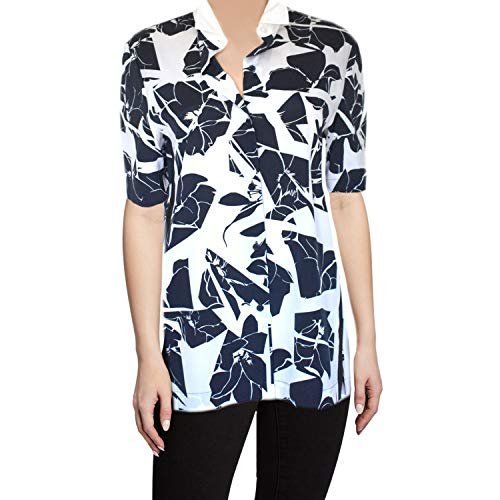 DKNY Women's Silk Blouse Black and White Floral Print Shirt Short Sleeve Size Small ()