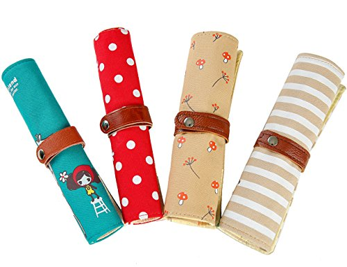 iSuperb? Cute Stationary Bag 4PCS Differently-colored Pouches Canvas Roll-up Pencil Bag Case Cosmetics Bag Pouch for Students Girls Boys (4 PCS Cartoon Roll-up Pencil Bag)