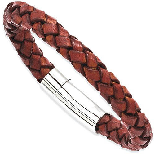 ICE CARATS Stainless Steel Brown Leather 8.5 Inch Bracelet Cord Leatrubber Man Men Fashion Jewelry Dad Mens Gift - Designer Reduced