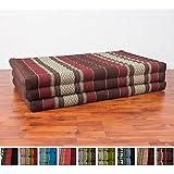 Leewadee Thai Massage Mat XL, 82x46x3 inches, Kapok Fabric, Brown Red, Premium Double Stitched