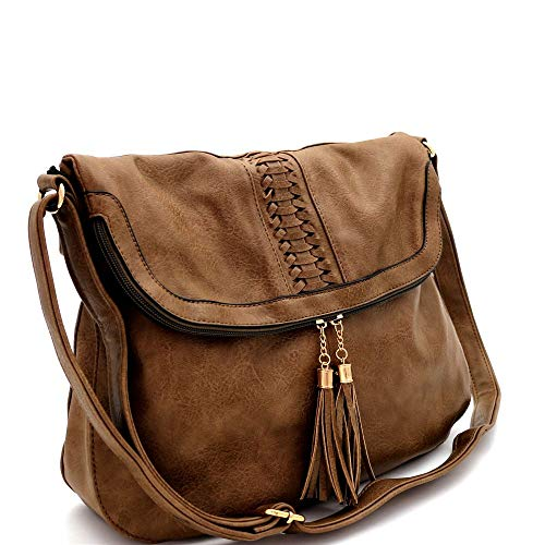 Tassel Woven Accent Overiszed Large Vegan Leather Fold-Over Flap School Travel Messenger Crossbody Bag - Fold Over Leather