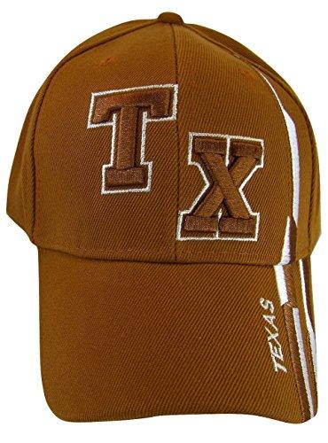 Texas TX with Stripes Adjustable Baseball Cap (Orange) ()