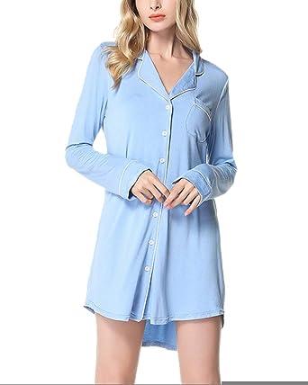 Pijama Mujer Camison Verano Manga Larga Vestido De Dormir Camisa De Noche: Amazon.es: Ropa y accesorios