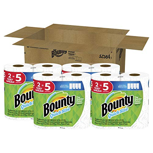 Bounty Quick-Size Paper Towels, White, 8 Family Rolls = 20 Regular -