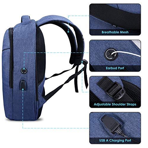 Computer 1 Earphone with Business Anti Resistant with Bag Charging College Daypack Theft Laptop GIM Lock Inch Theft Work Port Grey 6 Slim Water USB 15 Backpack Rucksack Backpack upgraded Blue 5 Port and for q7Sxw7