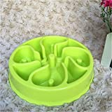 LVSEHUIYI Pet Dog Cat Interactive Slow Food Bowl 1Pc Slip Gulp Feeder Healthy Bloat Dish For Pet Feeding Tools green flower 20 x 20 x 4cm