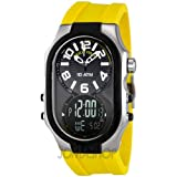 Philip Stein Men's 3RB-AD-RY Signature Black Plated Chronograph Yellow Rubber Strap Watch, Watch Central
